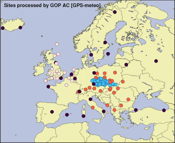 European network used in our GPS meteorology processing